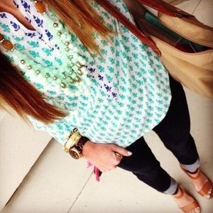j. crew // thistle print popover shirt mint green